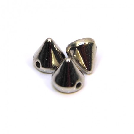 Намистини шипи акрилові, 6х6х6 мм, колір сталевий