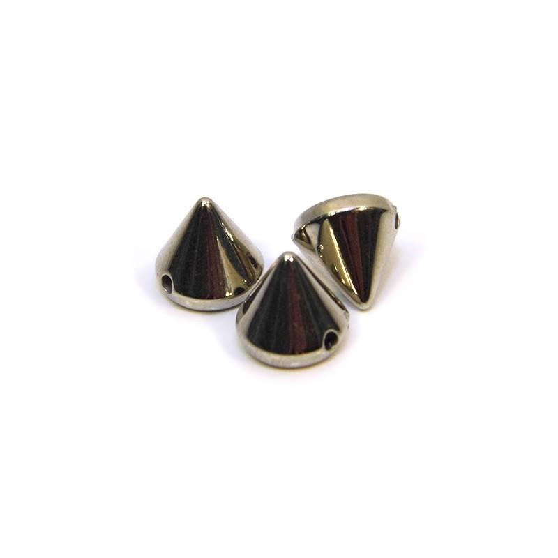 Намистини шипи акрилові, 8х8х8 мм, колір сталевий