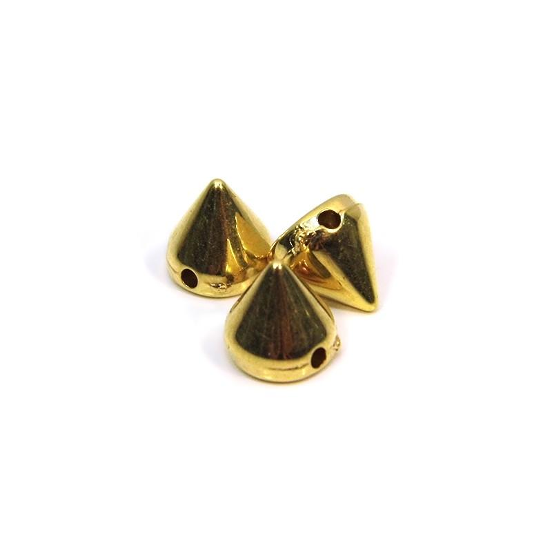 Намистини шипи акрилові, 8х8х8 мм, колір золотий