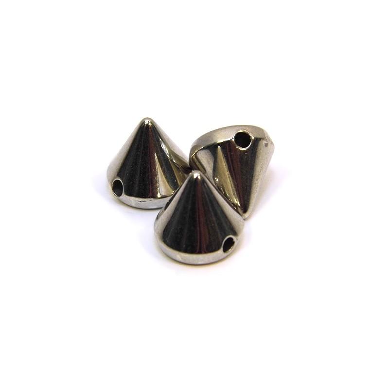 Бусины шипы акриловые, 10х10х10 мм, цвет стальной