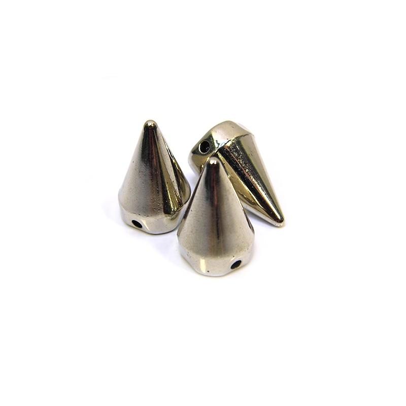 Бусины шипы акриловые, 22х14х14 мм, цвет стальной