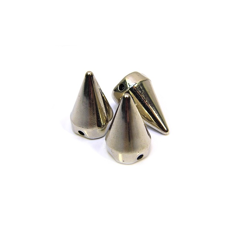 Намистини шипи акрилові,  22х14х14 мм, колір сталевий