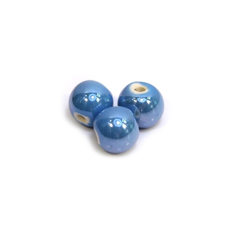 Порцелянові намистини ручної роботи, 12мм в діаметрі, блакитні