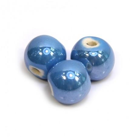 Фарфоровые бусины ручной работы, 12мм в диаметре, голубые