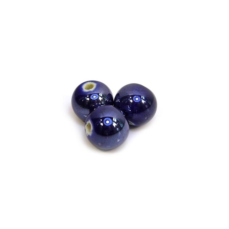 Фарфоровые бусины ручной работы, 12мм в диаметре, синие