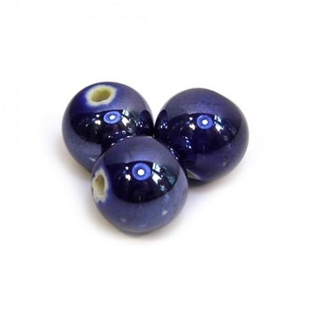 Порцелянові намистини ручної роботи, 12мм в діаметрі, сині