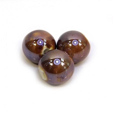 Фарфоровые бусины ручной работы, 12мм в диаметре, коричневые