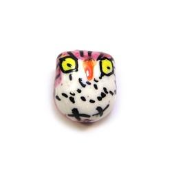 Фарфоровая бусина сова ручной работы, 17х15х13, белая с розовой спинкой и желтыми глазами