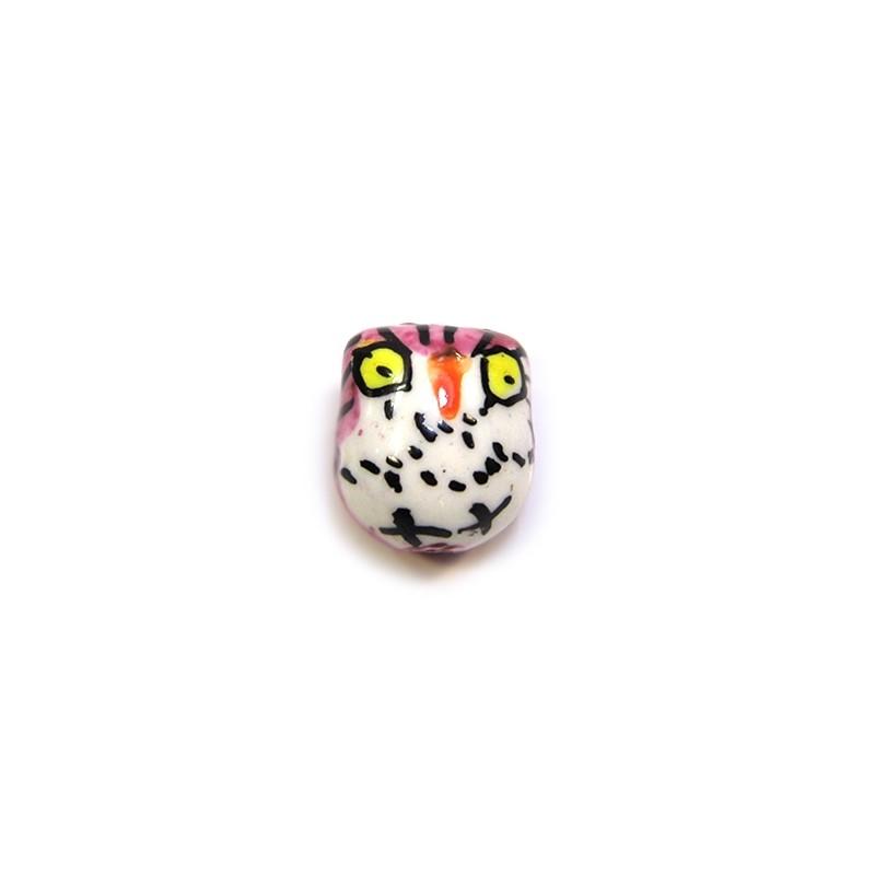 Фарфорова намистина сова ручної роботи, 17х15х13, біла з рожевою спинкою і жовтими очима