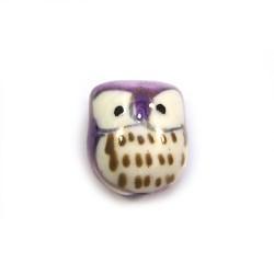 Фарфоровая бусина сова ручной работы, 17х15х13, белая с фиолетовой спинкой