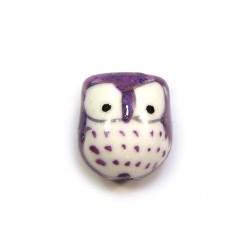 Фарфорова намистина сова ручної роботи, 17х15х13, біла з фіолетовою спинкою