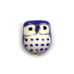 Фарфорова намистина сова ручної роботи, 17х15х13, біла з синьою спинкою