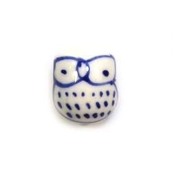 Фарфоровая бусина сова ручной работы, 17х15х13, белая с синим