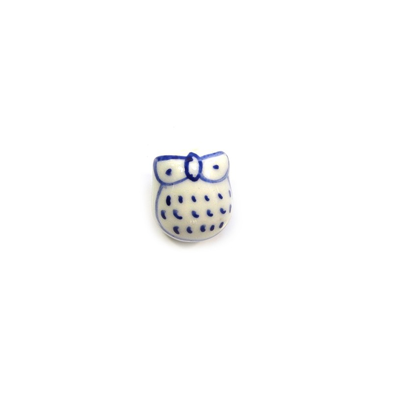 Фарфорова намистина сова ручної роботи, 17х15х13, біла з синім