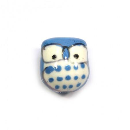 Фарфорова намистина сова ручної роботи, 17х15х13, біла з блакитною спинкою