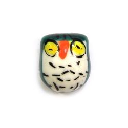 Фарфорова намистина сова ручної роботи, 17х15х13, біла з чорною спинкою і жовтими очима