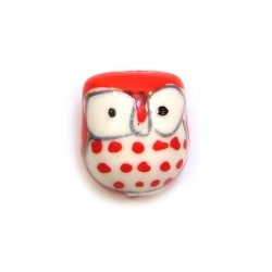 Фарфорова намистина сова ручної роботи, 17х15х13, біла з червоною спинкою
