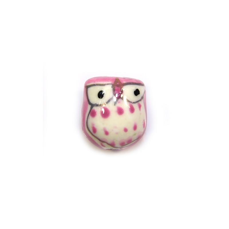 Фарфорова намистина сова ручної роботи, 17х15х13, біла з рожевою спинкою