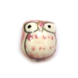 Фарфоровая бусина сова ручной работы, 17х15х13, белая с розовой спинкой