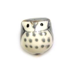 Фарфоровая бусина сова ручной работы, 17х15х13, белая с серой спинкой