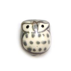 Фарфорова намистина сова ручної роботи, 17х15х13, біла з сірою спинкою