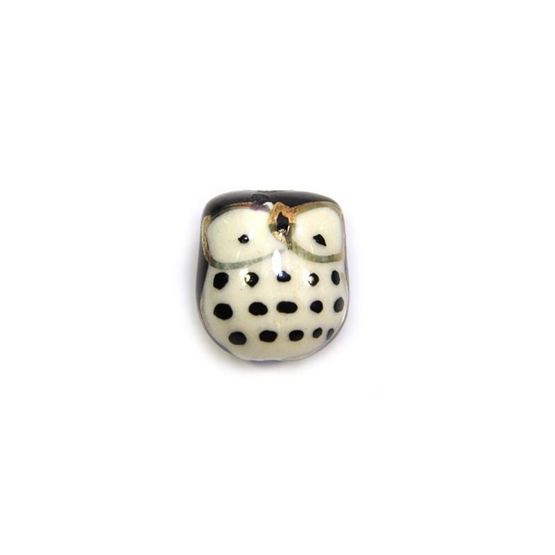 Фарфорова намистина сова ручної роботи, 17х15х13, біла з чорною спинкою