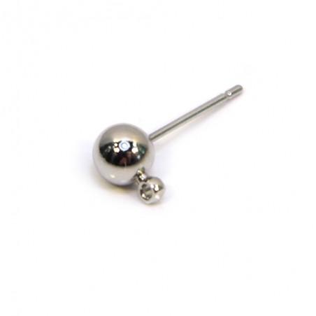 Основа для сережек (гвоздик, пуссет), 16х7х5 мм, цвет стальной. Цена за 1 шт.