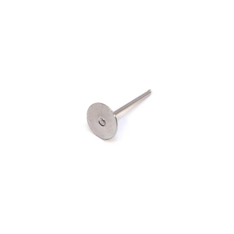 Основа для сережек клеевая (гвоздик, пуссет), 15х7х7 мм, цвет стальной. Цена за 1 шт.