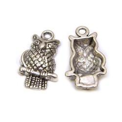 Підвіска сова, 22х12х4 мм, металева, колір сталевий.