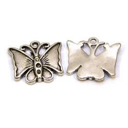 Підвіска метелик, 17х19 мм, металева, колір сталевий.