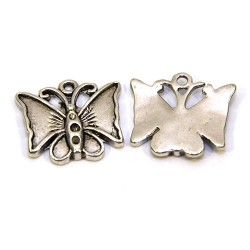 Подвеска бабочка, 17х19 мм, металлическая, цвет стальной.