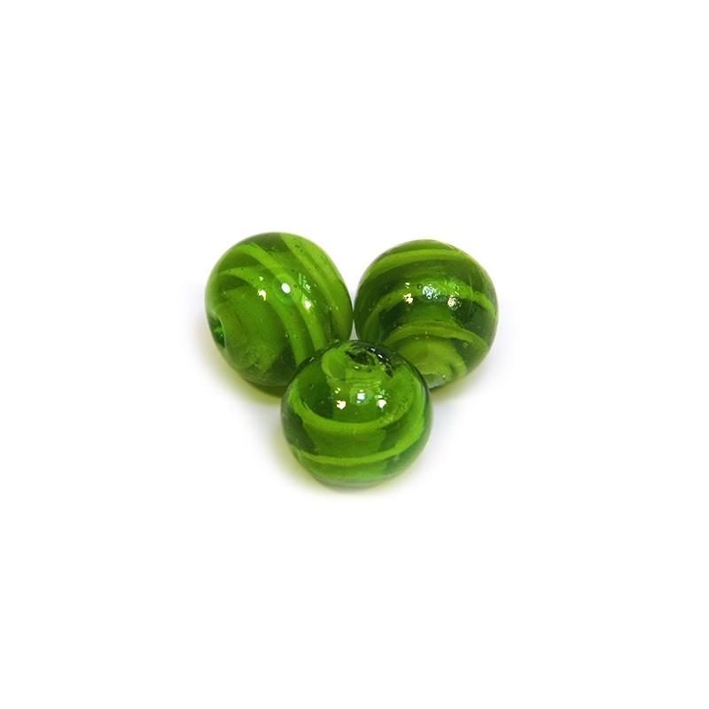 Бусина лэмпворк ручной работы, 14мм, зеленая полупрозрачная с завитками