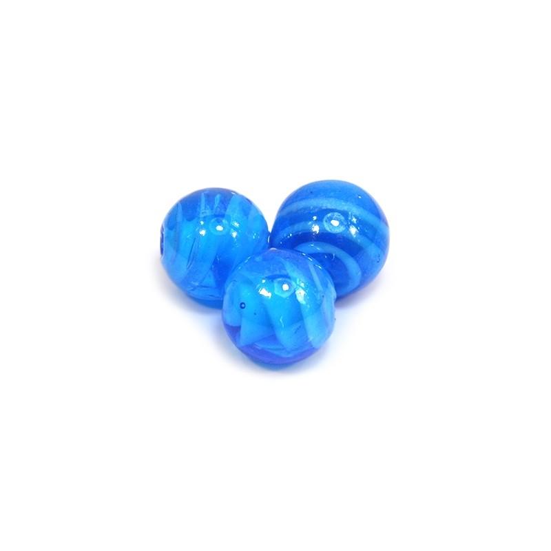 Бусина лэмпворк ручной работы, 14мм, голубая полупрозрачная с завитками