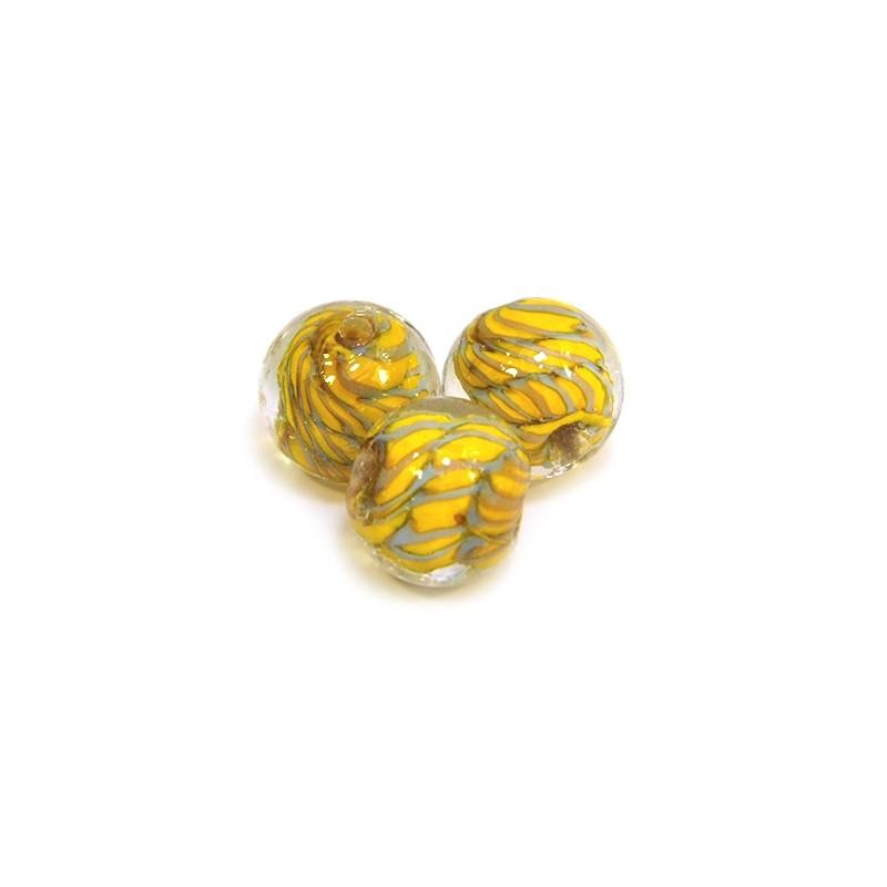 Намистина лемпворк ручної роботи, 14мм, прозора з жовтими і сірими спіралями