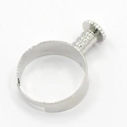Основа для каблучки Пандора, 17мм (регулюється), латунь, сталевий колір