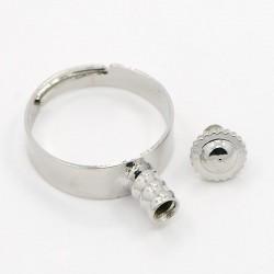 Основа для кольца Пандора, 17мм с регулировкой, латунь, стальной цвет