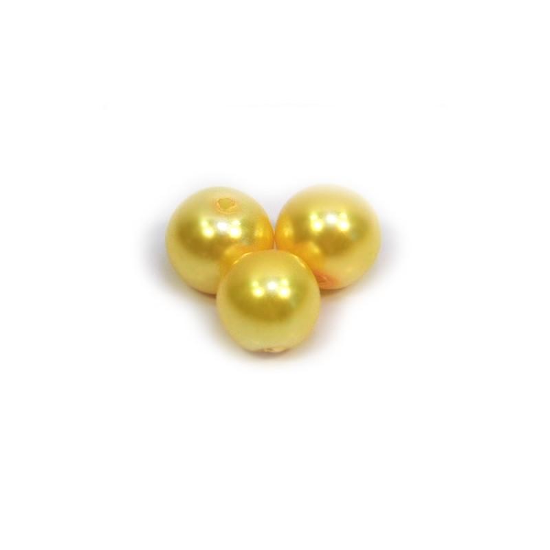 Бусина жемчужная, 8 мм, желтая