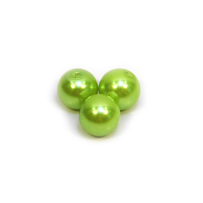 Перлина скляна, 8 мм, салатова