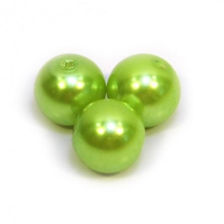 Бусина жемчужная, 8 мм, салатовая