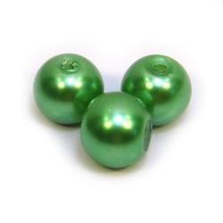 Перлина скляна, 8 мм, світло-зелена