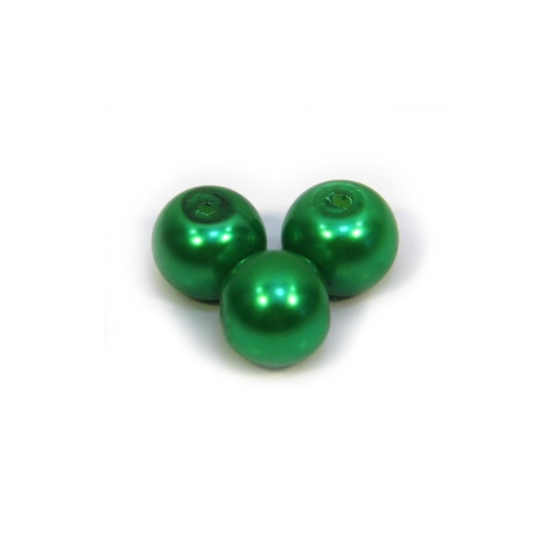 Перлина скляна, 8 мм, зелена