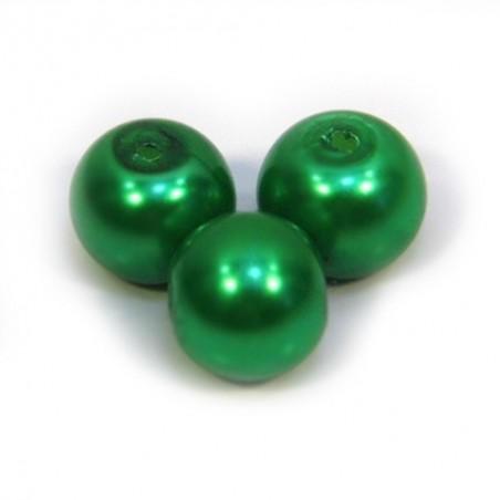 Бусина жемчужная, 8 мм, зеленая