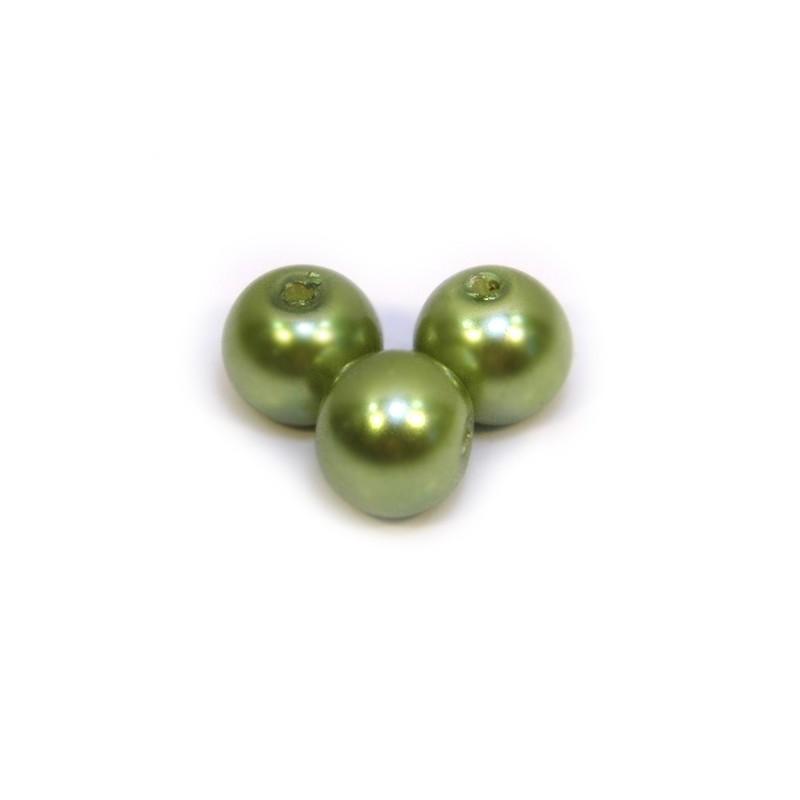 Перлина скляна, 8 мм, оливкова