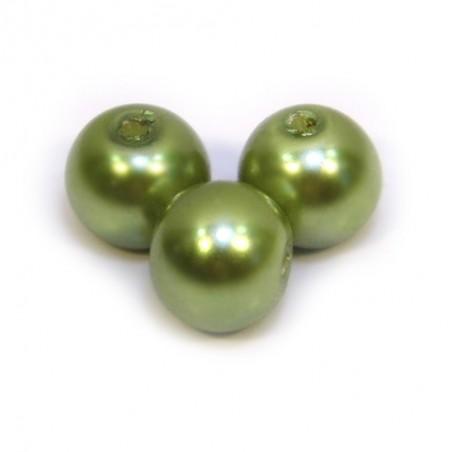 Бусина жемчужная, 8 мм, оливковая