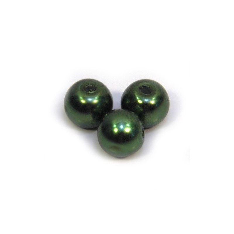 Бусина жемчужная, 8 мм, темно-оливковая