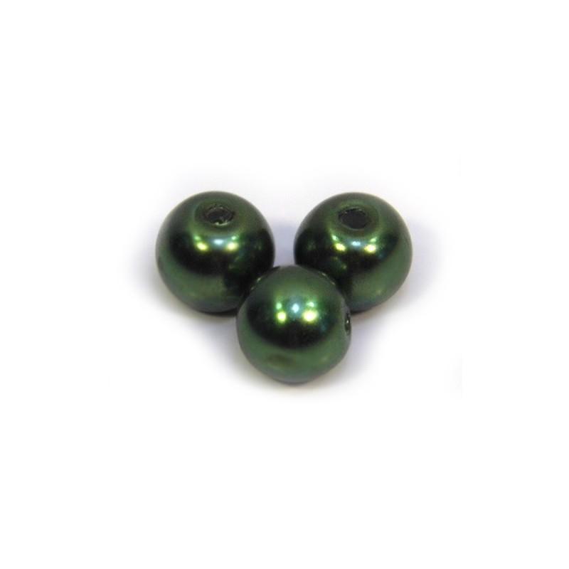 Перлина скляна, 8 мм, темно-оливкова