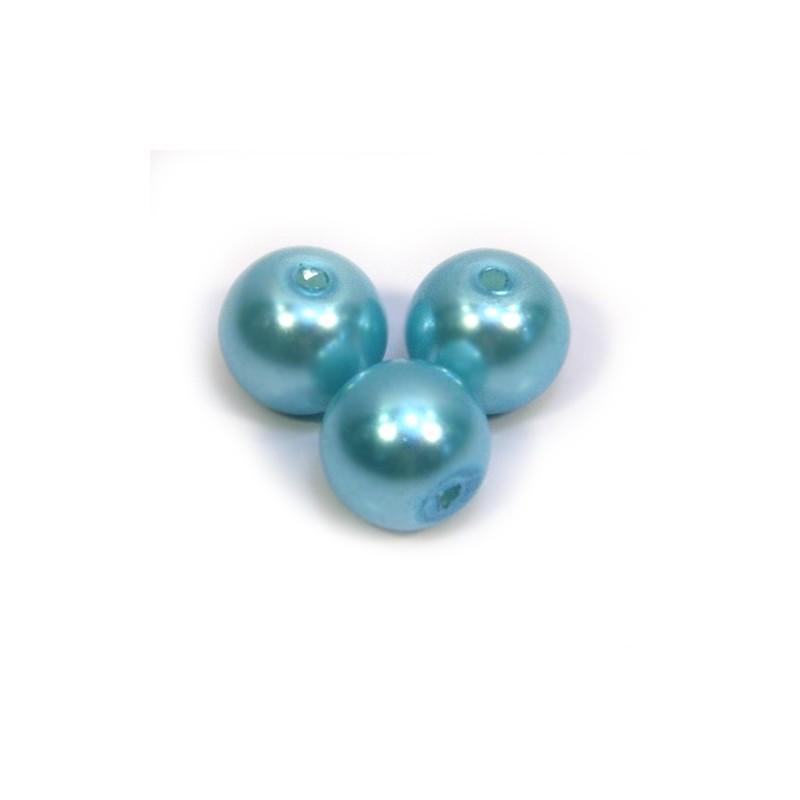 Перлина скляна, 8 мм,  блакитна