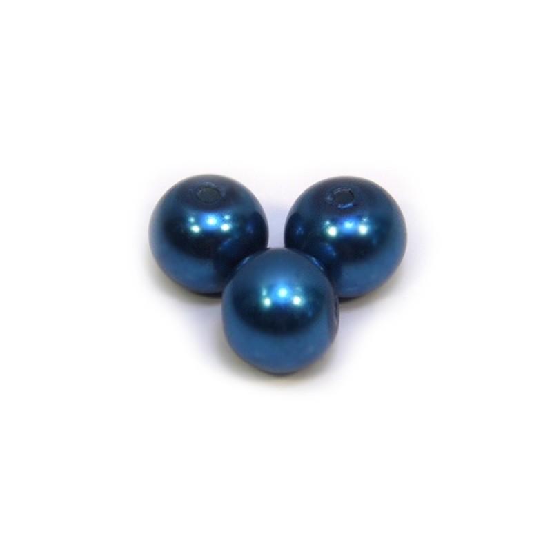 Перлина скляна, 8 мм,  синя