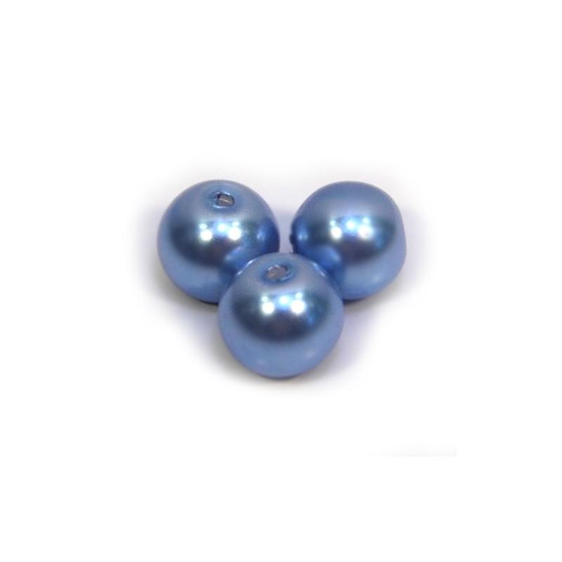 Перлина скляна, 8 мм,  світло-синя