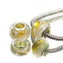 Бусины Пандора, лэмпворк, 14х10 мм, желтые полупрозрачные с белым рисунком